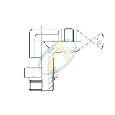 Adaptateur coudé 90° mâle 7/16 JIC - mâle 9/16 SAE