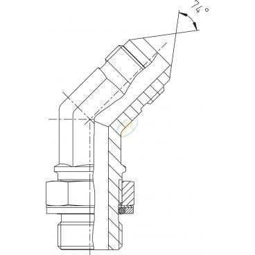 Adaptateur coudé 45° mâle 7/16 JIC - mâle 1/4 BSPP