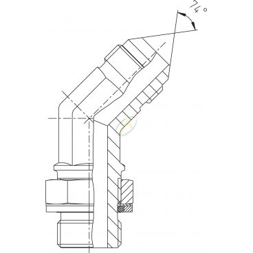 Adaptateur coudé 45° mâle 9/16 JIC - mâle 3/8 BSPP