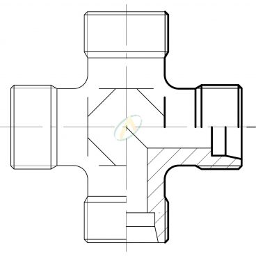 Union en croix mâle 17 GAZ