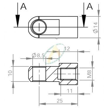 Chape acier diamètre 10,1 mm largeur 10 mm taraudé M8