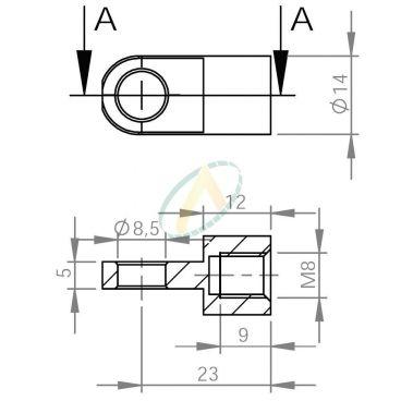 Chape acier à œil diamètre 8,5 mm largeur 5 mm taraudé M8