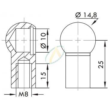 Cage acier à rotule diamètre 10 mm taraudé M8 longueur 25 mm