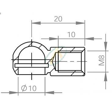 Cage acier à rotule diamètre 10 mm taraudé M8 longueur 20 mm