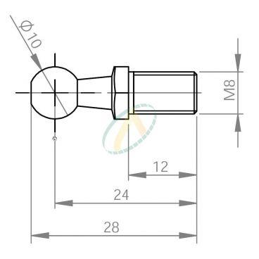 Rotule acier diamètre 10 mm fileté M8 pour cage longueur 24 mm