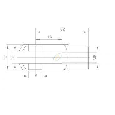 Fourche acier diamètre 8 mm taraudé M8 longueur 32 mm
