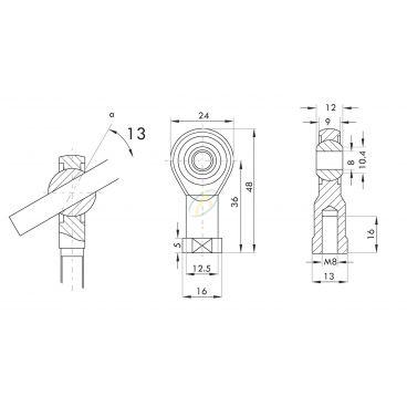 Chape acier à œil oscillante diamètre 8 mm largeur 12 mm taraudé M8
