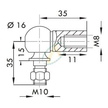 Cage acier taraudé M8 avec rotule fileté M10 longueur 35 mm