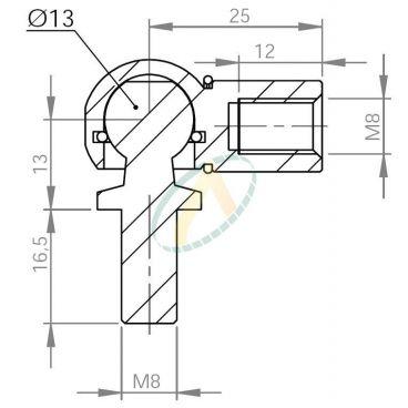 Cage acier taraudé M8 avec rotule fileté M8 longueur 25 mm