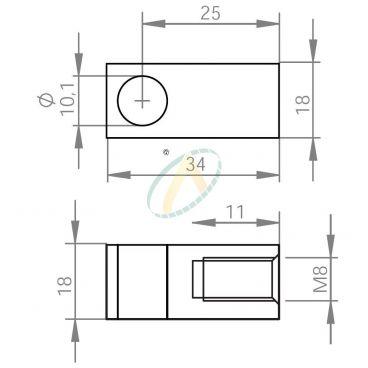 Chape acier diamètre 10,1 mm largeur 18 mm taraudé M8