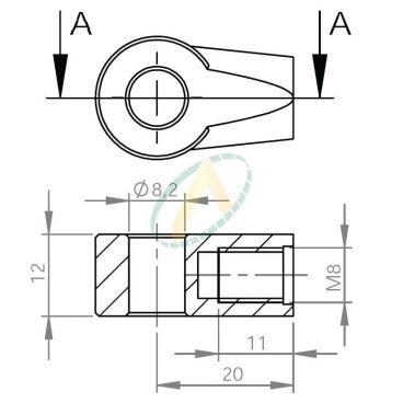 Chape zamak diamètre 8,2 mm largeur 12 mm taraudé M8