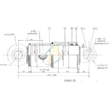 Vérin Hydraulique Simple Effet pour Kit Relevage Case IH 1455 XL