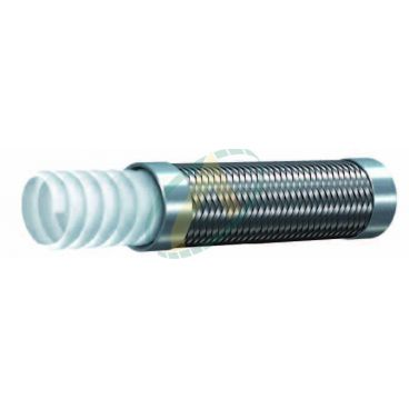 Flexible Téflon convoluté 1 tresse diamètre intérieur 10 mm (3/8'') - 200 bars