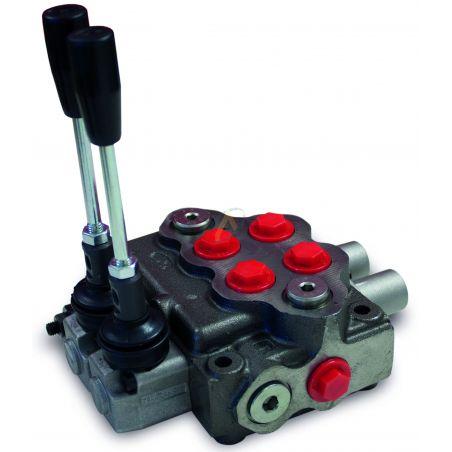 Distributeur manuel monobloc 45l/min 2 éléments 1 double effet, 1 double effet position flottante