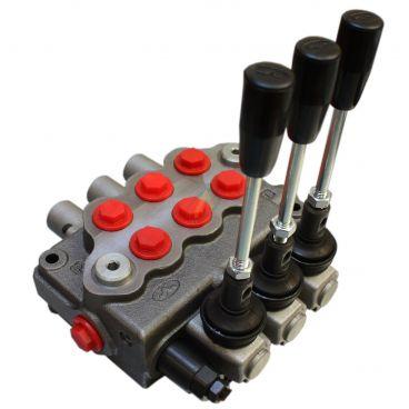 Distributeur manuel monobloc 45l/min 3 élèments : 2 double effet, 1 DE position flottante