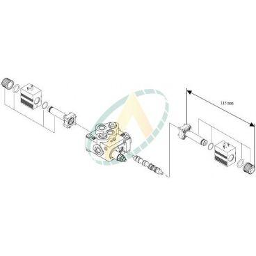 Distributeur monobloc spécifique 45l/min commande électrique 12 Volts 1 double effet