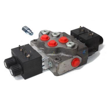 Distributeur monobloc à commande électrique 12 volts 1 fonction double effet + 1 fonction simple effet