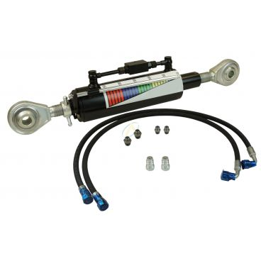 Troisième point hydraulique rotule 32 mm tige 50 mm entraxe fermé 635 mm, avec flexibles