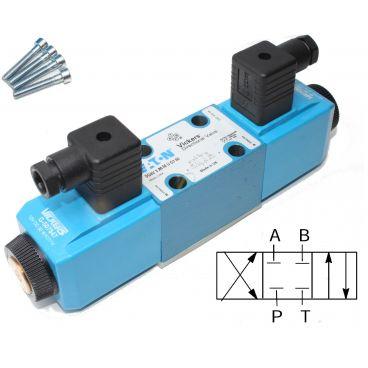 Distributeur Cetop 3 double bobine A et B fermé à commande électrique
