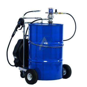 Pompe à huile pneumatique 3:1 avec poignée de distribution à présélection, chariot et enrouleur