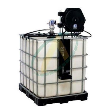 Pompe à huile pneumatique 3:1 avec poignée de distribution, support cuve 1000 litres et enrouleur
