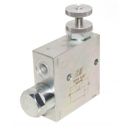 Régulateur de débit hydraulique 3 voies réglable de 0 à 30 l/min, pression maximale 250 bars