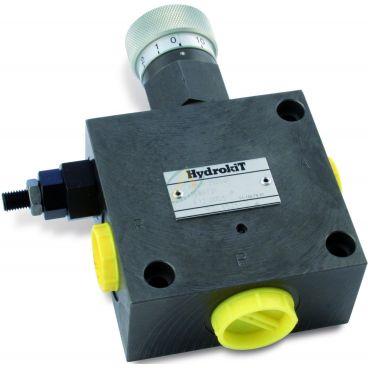 Régulateur de débit hydraulique 3 voies réglable de 0 à 50 l/min, pression maximale 250 bars