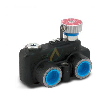 Diviseur de débit hydraulique réglable de 0 à 76l/min, avec clapet, pression maximale 420 bars