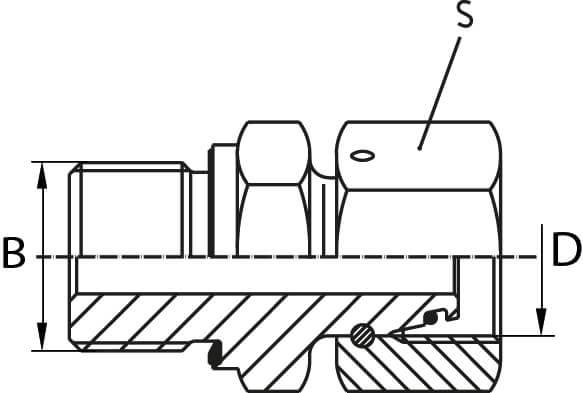 Union male/male hydraulique