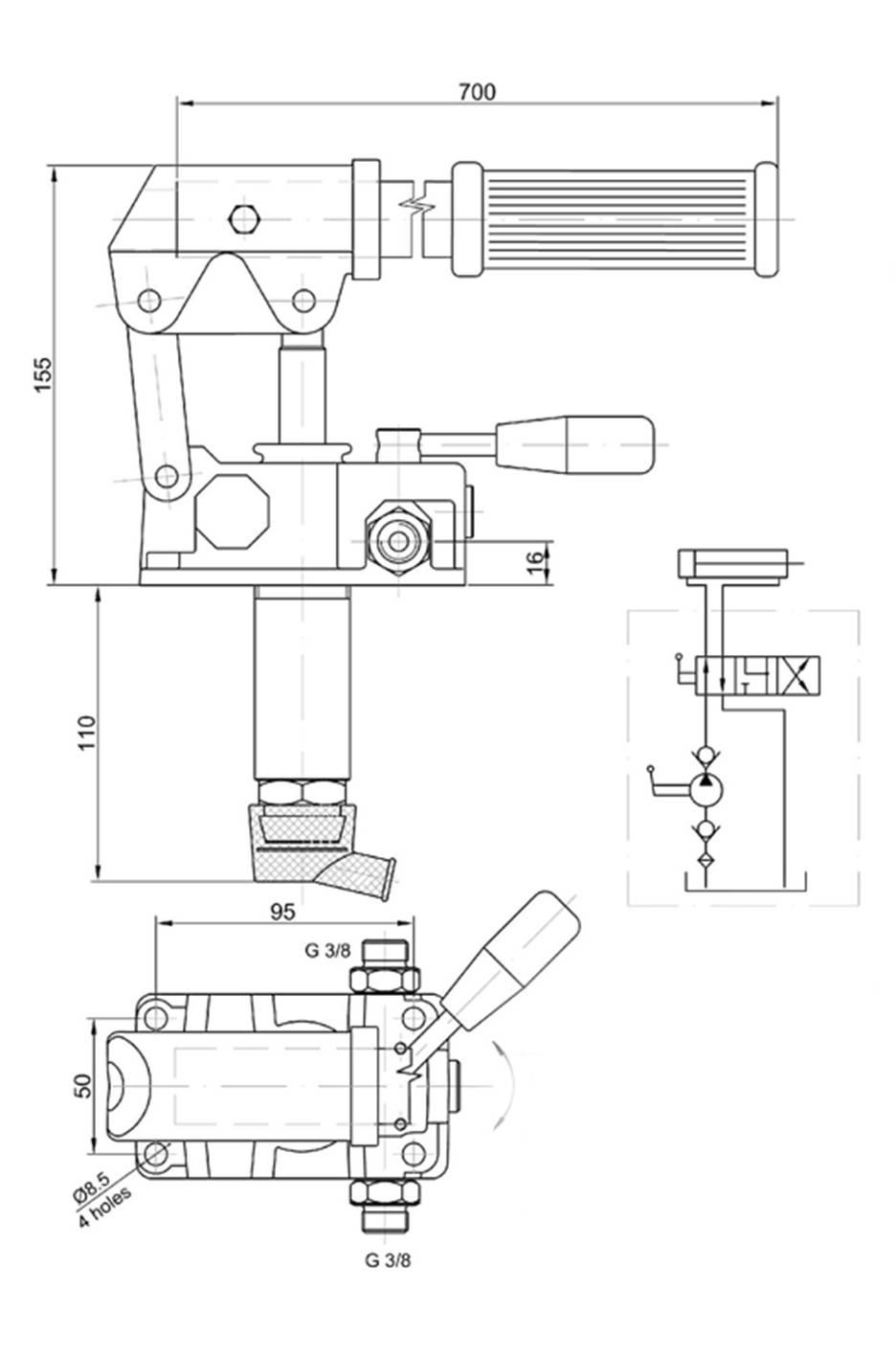 Schéma pompe hydraulique manuelle double effet
