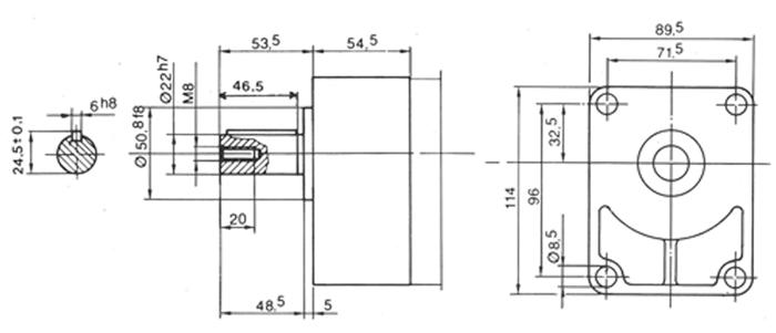 Schéma contre palier groupe 2 Arbre cylindrique diam 22 mm