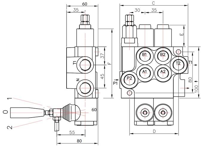 distributeur 40 l  min hydraulique manuel monobloc de 1  u00e0 7