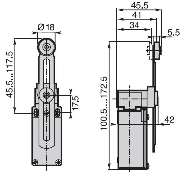 Dimensions détecteur de position fin de course