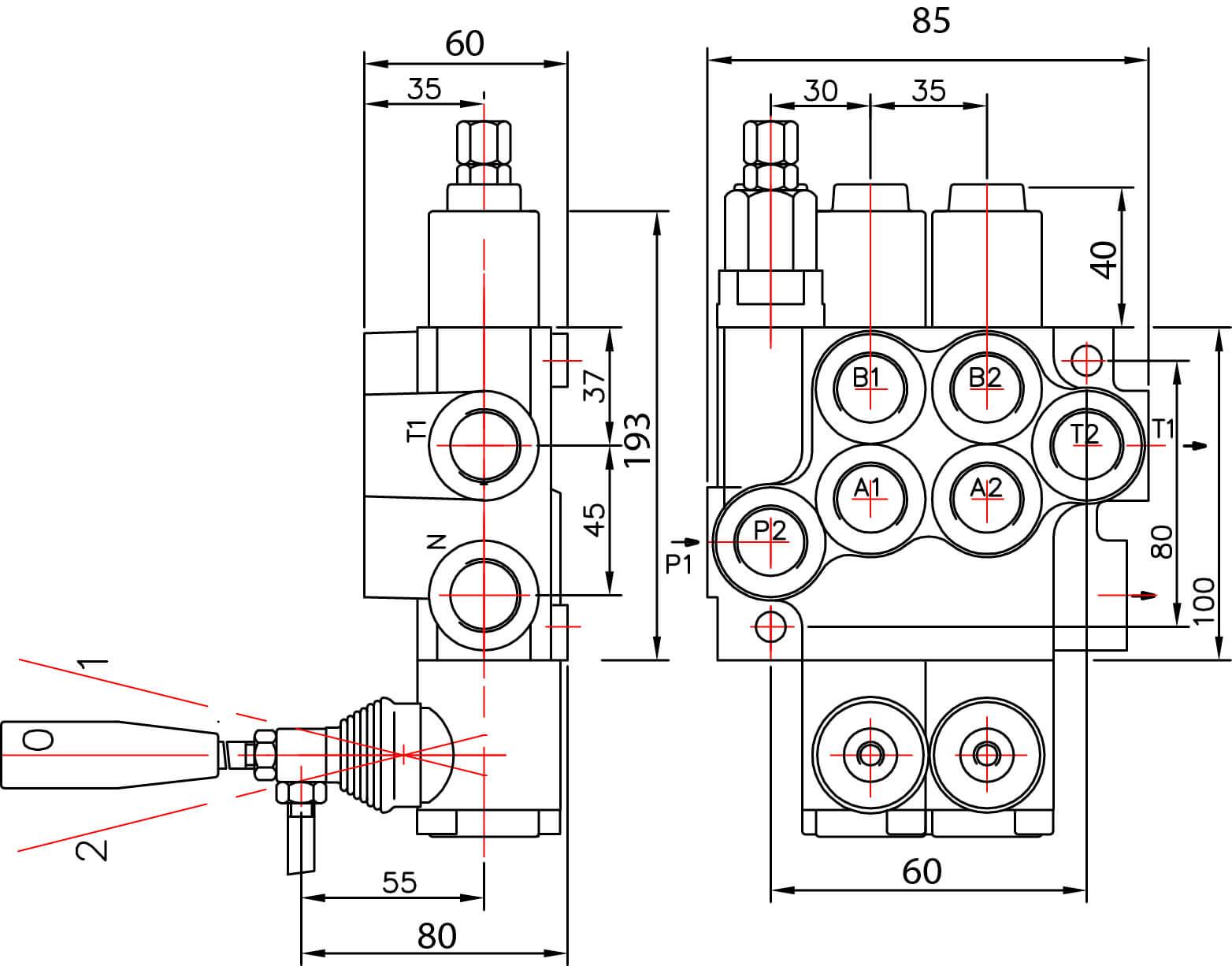 Schéma distributeur hydraulique 40l/min 1 double effet commande par levier