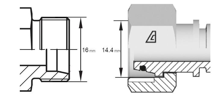 Cotes de définition flexible équipé écrou tournant 10L din droit