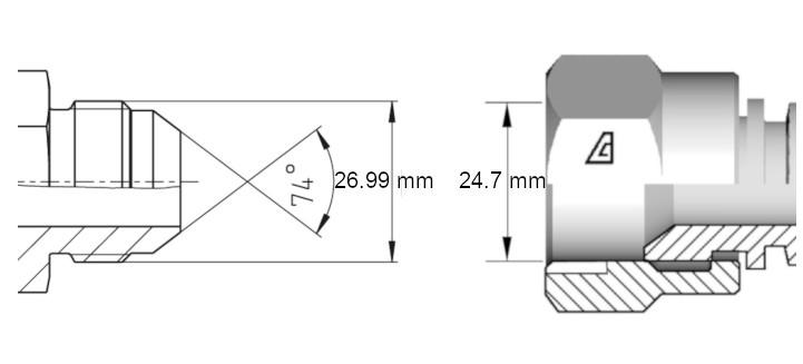 Cotes de définition flexible hydraulique équipé écrous tournants 1116 JIC droit coude