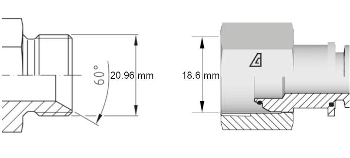 Cotes de définition flexible hydraulique équipé écrous tournants 12BPS droit