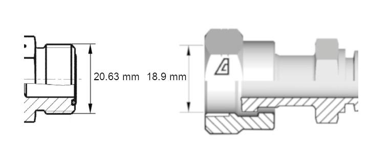 Cotes de définition flexible hydraulique équipé écrous tournants 1316ORFS droit