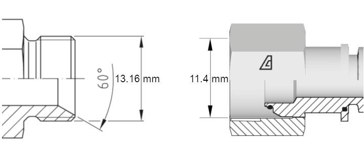 Cotes de définition flexible hydraulique équipé écrous tournants 14BSP droit