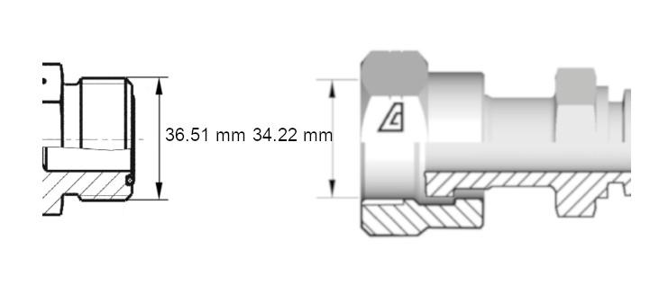 Cotes de définition flexible hydraulique équipé écrous tournants 1716ORFS droit coude