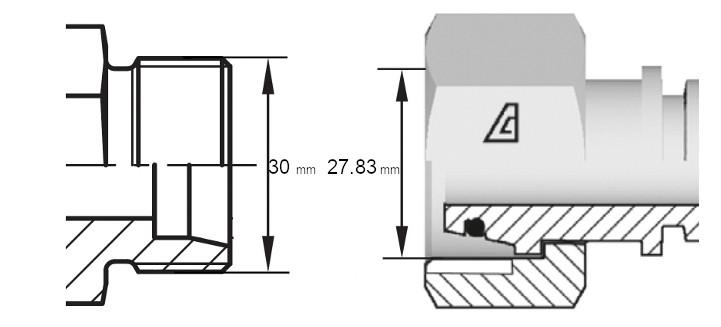 Cotes de définition flexible hydraulique équipé écrou tournant 22L DIN droit