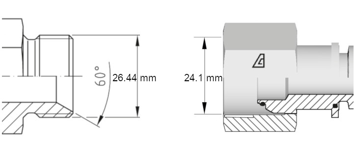 Cotes de définition flexible hydraulique équipé écrous tournants 34 BSP droit coudé