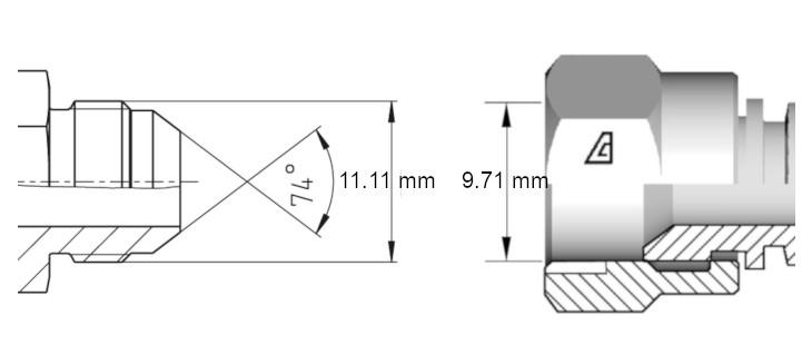 Cotes de définition flexible hydraulique équipé écrous tournants 716 J droits