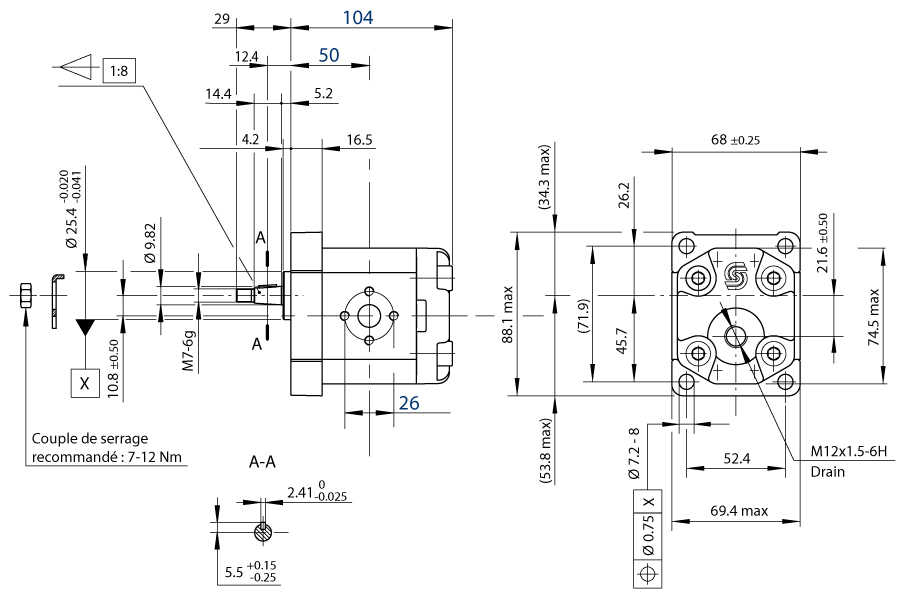 moteur hydraulique sauer 7 8 cm3 flasque 4 trous arbre conique
