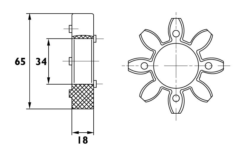 Anneau d'accouplement étoile intérieur ø34mm - Exterieur ø65mm
