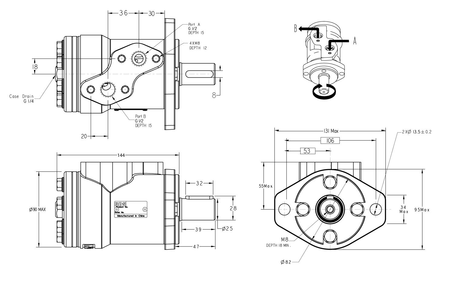 Moteur Eaton 50 cm3 OMP flasque 2 trous