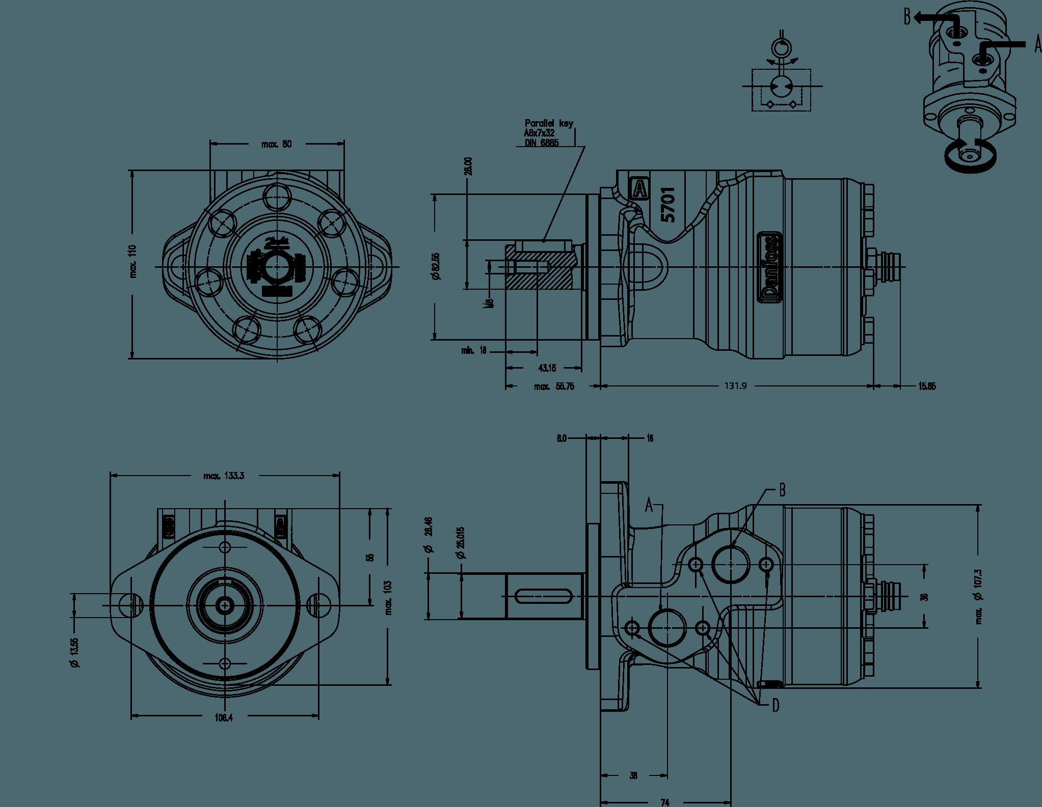 moteur hydraulique danfoss 11185775 omp 32 cm u00b3 arbre
