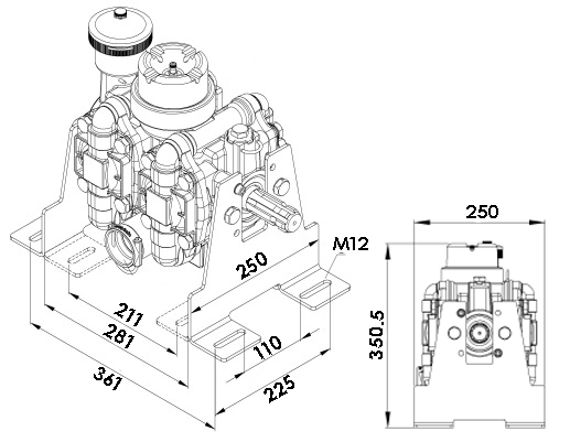 Schéma pompe a membrane 150 litres