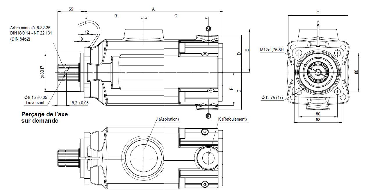 Schéma et dimensions pompe camion série PA Hydro Leduc