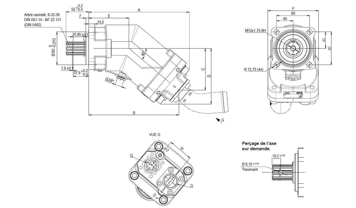 Schéma et dimensions pompe camion série XPI Hydro Leduc
